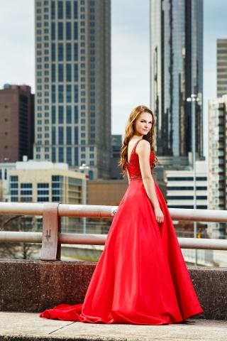 Senior in a red dress in Atlanta, Georgia