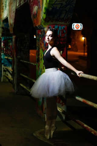 Ballerina at night in Atlanta. Inspired by Misty Copeland. Senior portraits by Starr Petronella
