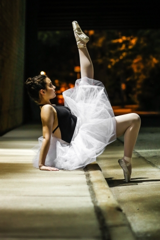 Ballerina at night