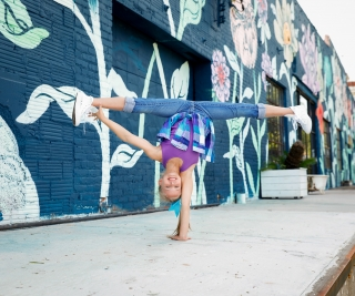 Young gymnasts take to the streets of Atlanta to show off their skills and strength. Photos by Urban Flair Photography, Starr Petronella